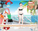 Juegos vestir vestir chica paseo en la playa