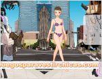 Juegos vestir chica a rayas ciudad